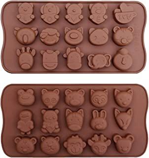 Cute Animal Jelly Pudding Silicone Tray Mold 15-Cavity Ice Cream Chocolate Cookie Ice Cube Mold DIY Baking Cake Decoration Tool Handmade Soap Polymer Clay Craft Mould 2 PCS