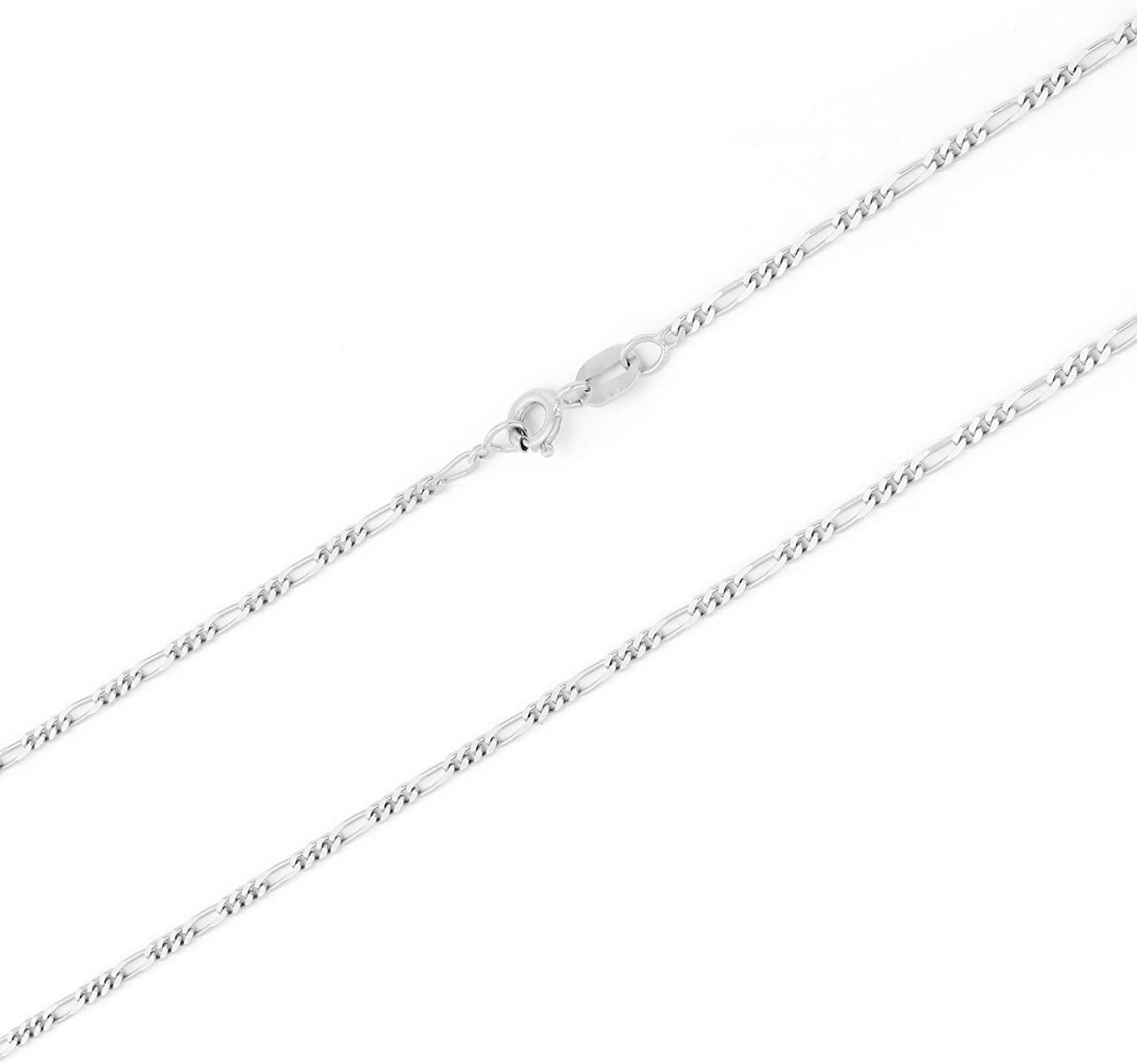 Nuragold 10k White Gold 2.5mm Solid Figaro Chain Link Pendant Necklace, Womens Mens 16
