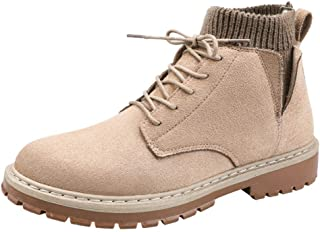 ZHANGLEI Ankle Boot for Men High Top Work Boots Suede Leather Lace up Stitching Elastic Socks Collar Knit Side Cut Anti-Slip Lug Sole (Color : Khaki, Size : 7.5 UK)