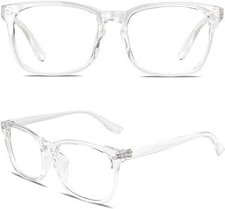 GQUEEN Grand cadre surdimensionné corne clair lunettes transparentes PE2
