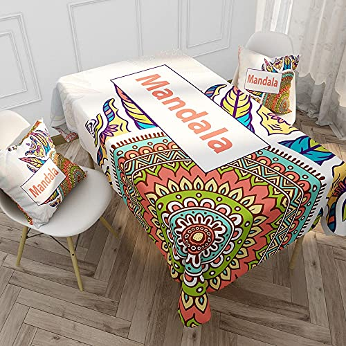 XXDD Bohemian Mandala Tablecloth Rectangular Waterproof Stain Tablecloth Oilcloth For Kitchen Dining Table Cover A7 140x140cm