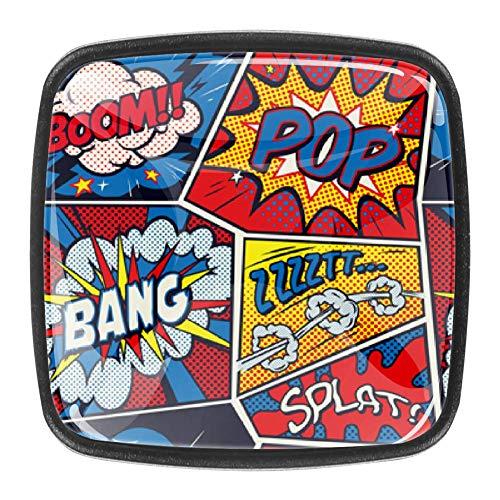 Boom Bang Splat - Perilla para cajón Tirador de puerta Manija 4PCS con tornillos para el hogar