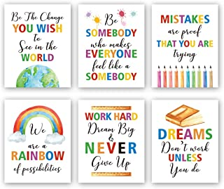 """HPNIUB Colorful Words Art Prints, Set of 6 (8""""X10""""), Inspirational Quotes Motivational Saying Canvas Poster, Rainbow World..."""