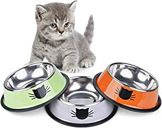 SAPU Cat Bowl Pet Bowl Stainless Steel Cat Food Water Bowl with Non-Slip Rubber Base Small Pet Bowl Cat Feeding Bowls Set ...