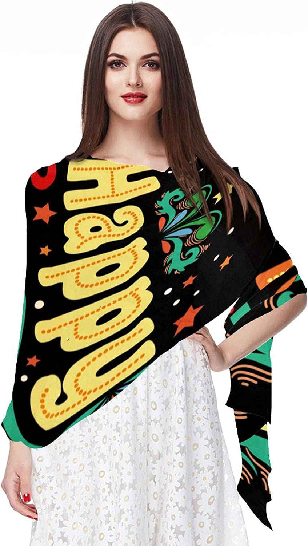 Scarfs for Women Lightweight Print Floral Pattern Scarf Shawl Fashion Scarves Sunscreen Shawls, Happy New Year