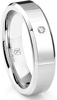 Cobalt XF Chrome 6MM Solitaire Diamond High Polish Wedding Band Ring w/Beveled Edges