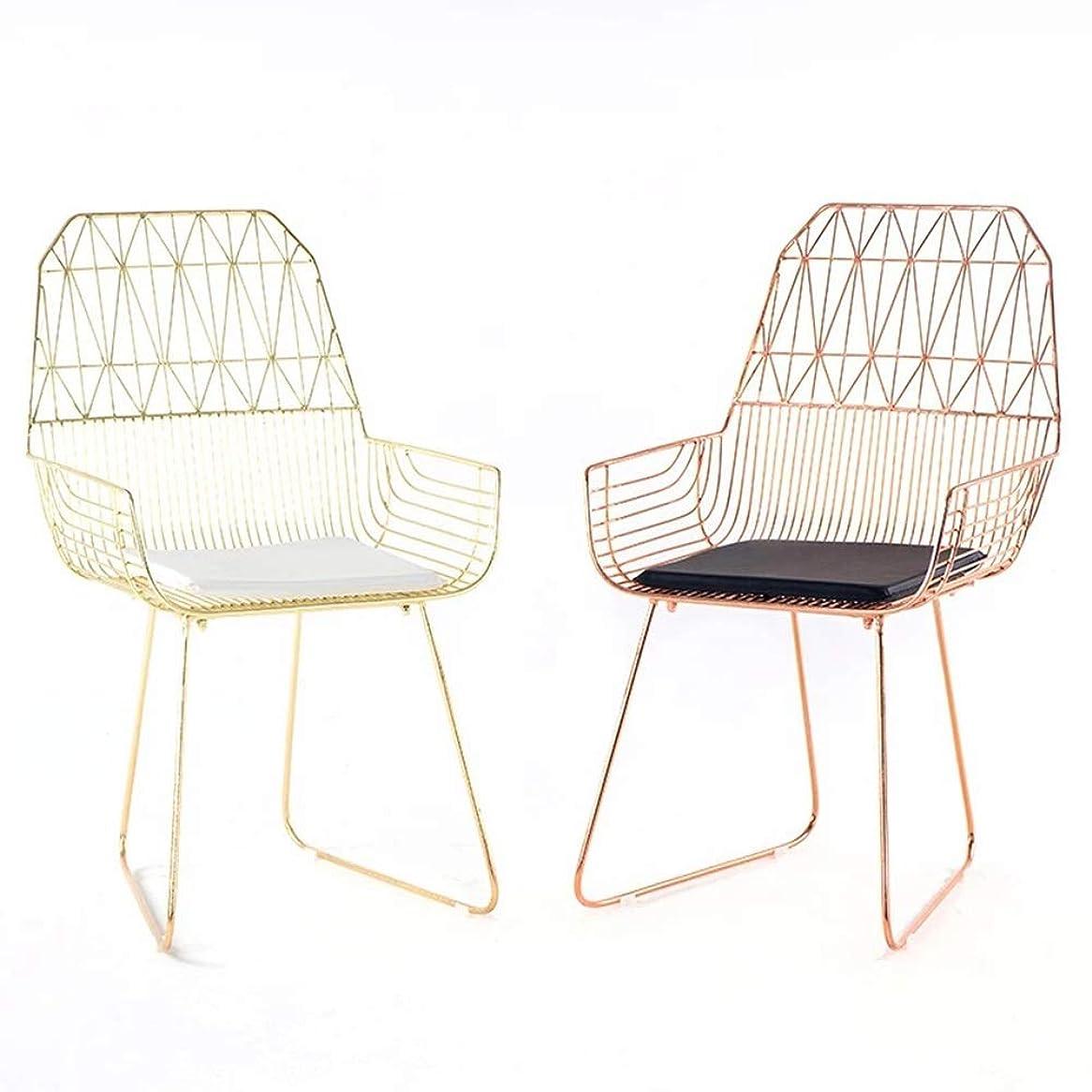 きしむ湖咲く椅子ヨーロッパスタイルシンプルな中空鉄ワイヤーチェア錬鉄製の椅子レジャーバーレストランリビングルーム金属クリエイティブデザイナーチェア (Color : Rose gold)