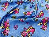 JLC0312BUE Kinder-Stoff, Bio-Baumwolle, Cartoon-Drachen auf
