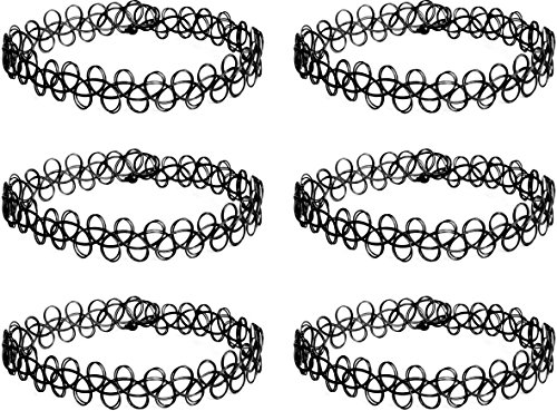 6 x tattoo ketting, choker halsband, henna halsketting zwart, eenheidsmaat