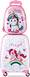 """Costway Kids Luggage Backpack Set Travel SuitcaseTrolley Carry on Hard Shell 12""""+16"""" Gift (Unicorn)"""