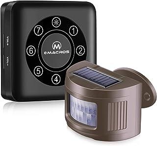 eMACROS Pairable1/2 Mile Long Range Solar Wireless Driveway Alarm Indoor Outdoor Weatherproof Motion Sensor&Detector Security Alert System(2020 New Version)