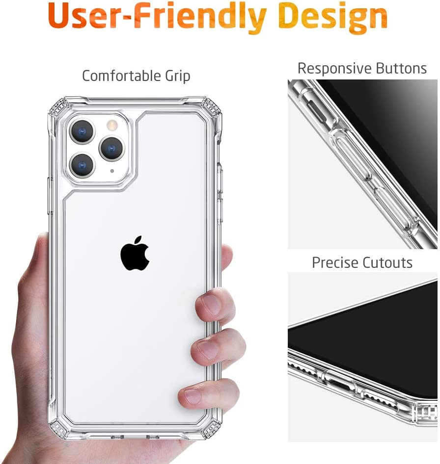 """ESR Air Armor Designed for iPhone 11 Pro Case, [Shock-Absorbing] [Scratch-Resistant] [Military Grade Protection] Hard PC + Flexible TPU Frame, for The iPhone 5.8""""(2019), Clear"""