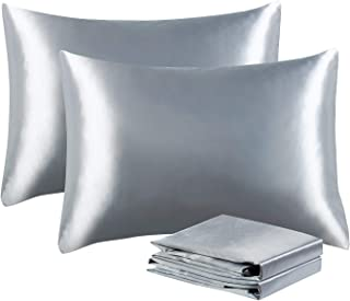 Tyfitb Satin Pillowcases for Hair and Skin, King Size (20×36 Inches), Set of 2, Soft Luxury Pillow Covers with Envelope Closure, Anti-Wrinkle, Fade & Stain Resistant Silky Pillow Cases,Silver Grey