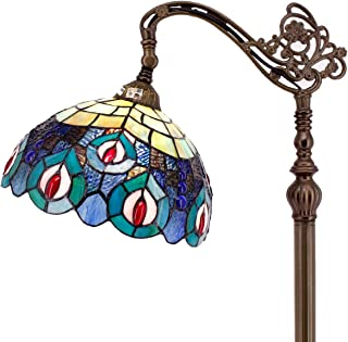 Tiffany Style Reading Floor Lamp Blue Stained Glass with Crystal Bead Peacock Lampshade 64 Inch Tall Antique Arched Base for Bedroom Living Room Lighting Table Set Gifts S666 WERFACTORY