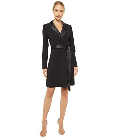 Adrianna Papell Knit Crepe Tuxedo A-Line Dress (Black) Women