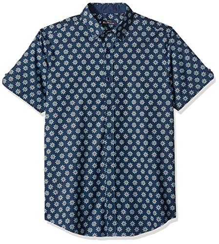 Ben Sherman Men's SS FLRL TARGT Print Shirt, Dark Navy, L