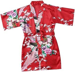 zhxinashu Kids Robe Satin Silk Bathrobe Girl Pajamas Clothing(Red/Size 6)