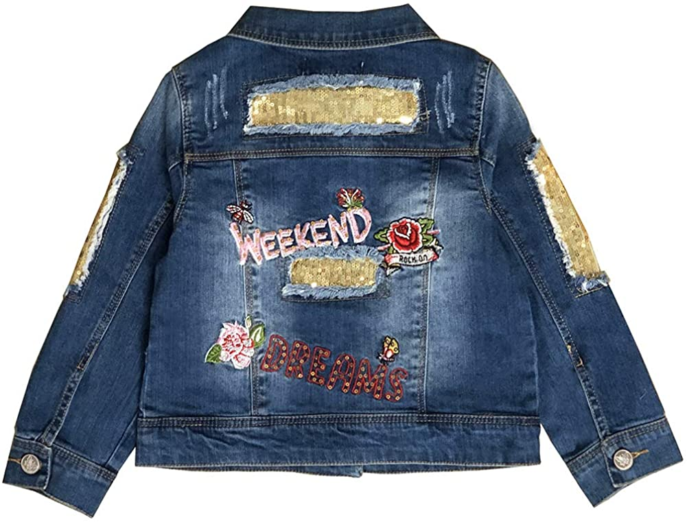 Peacolate 2-11Y LittleBig Girls Embroidery Portland Mall Sequin Lowest price challenge Outerwear Den