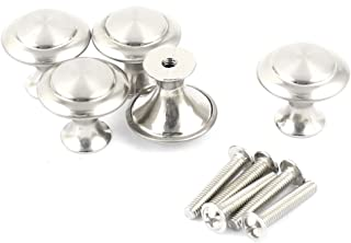 uxcell Cabinet Stainless Steel 0.94 inches Dia Round Pull Knob Handles 5 Pcs