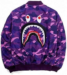QYS Men's Classic Camouflage Bape Shark Cotton Flight Baseball Jacket Outwear,Purple,M