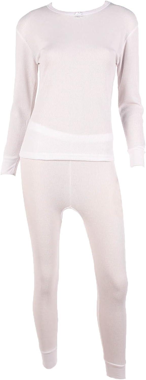 WUHOU Women's 100% Cotton Thermal Underwear Two Piece Long Johns Set-XL-White