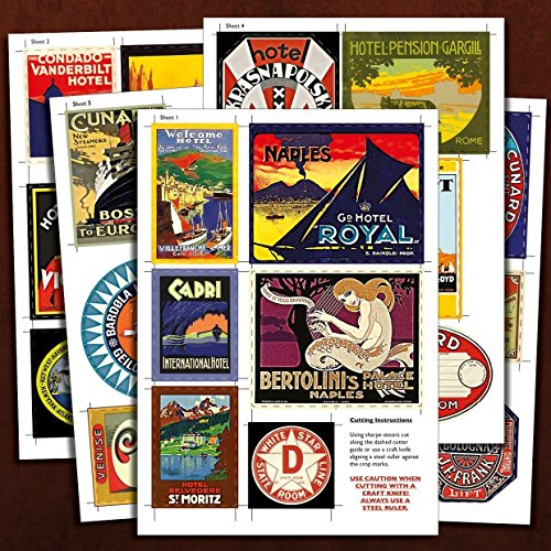 30 Reproduction vintage hotel LUGGAGE LABEL STICKERS for suitcase or vintage trunk