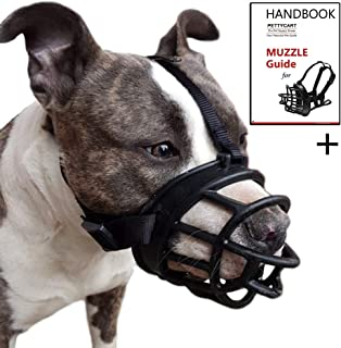 Pettycart Dog Muzzle, Soft Basket Muzzle for Medium Large Dogs, Best to Prevent Biting, Chewing and Barking