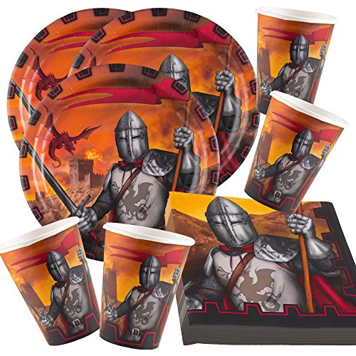 amscan Juego de vajilla de 52 piezas para fiesta de caballeros, platos, vasos y servilletas para 16 niños