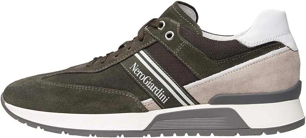 Nero giardini scarpe sneakers da uomo in pelle camoscio e tela E001484U 504