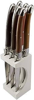 Laguiole Production - Bloc 6 couteaux à steak - Avec bloc de rangement bois - Acier inoxydable - Manche ergonomique - Set ...