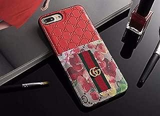 iPhone 7 Plus/8 Plus Case - Elegant Luxury PU Leather Designer Anti-Scratch Case with Card Holder Slot Cover for Apple iPhone 8 Plus 7 Plus (Elegant Red)