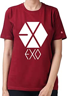PrintOctopus Graphic Printed T-Shirt for Women | Kpop Tshirt | K-pop EXO Tshirt for Girls | EXO Merch for Exo-ls | Round Neck T Shirt | 100% Cotton T-Shirt | Top for Girls