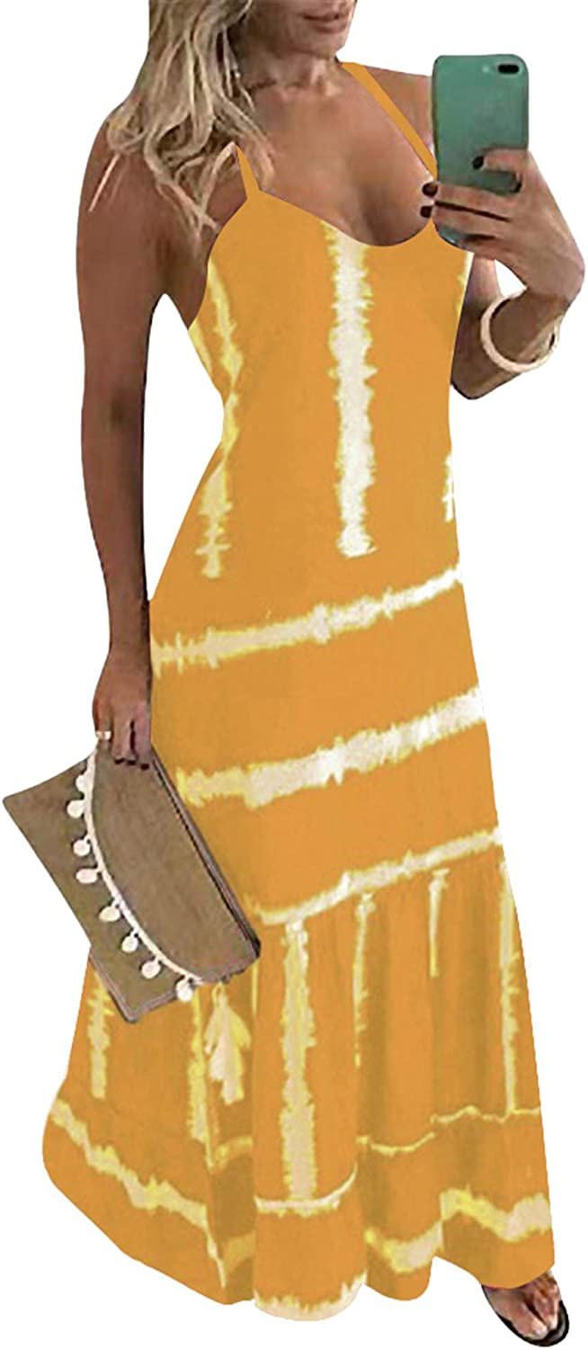 Lexiart Tie Chicago Mall Dye Maxi Dresses for Straps Women S Plus - 2021 spring and summer new Spaghetti