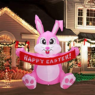 Mochalight 1.5m Party Inflatable Rabbit Sitting Holding A Flag Lighted Outdoor Indoor Holiday Decorations Art Decor UK Plug