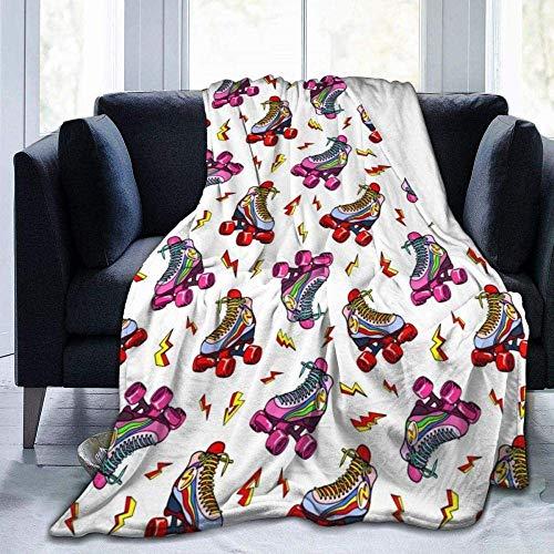 AEMAPE Mantas Regalo curativo edificante Cómodo Tiro para Cama Sofá Sofá Oficina Camping Rayo Patines de Ruedas de Colores Ultra Suave Fleece Terciopelo Manta de Tiro de Felpa