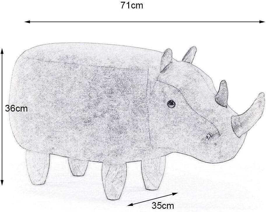 YUMUO Cartoon Rhino Shape Repose-Pieds avec bancs de siège Doux pour la Maison Portant des Chaussures Ottoman F0106 (Couleur: Gris foncé) 5