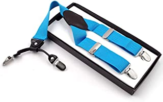 Elastic Adjustable Strap Suspenders with 4 Clips for Work Pants Men's (Color : Blue)