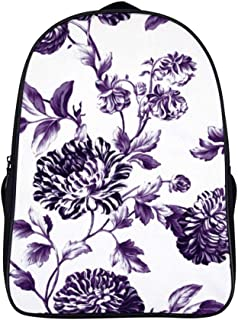 Boys/Girls College School Travel Laptop Backpack, Business Security Ultra-thin and durable waterproof computer backpack,black mulberry purple vintage floral