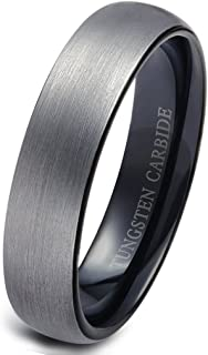 Tungsten Rings for Men Wedding Engagement Band Brushed Black 6mm Size 6-14