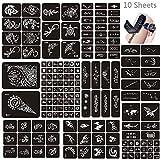 Jurxy 10 Hojas Kit de Plantilla de Tatuaje de Henna temporales Diseños de Arte Corporal Autoadhesivo Kit de Pegatinas Reutilizables - Varios Patrones para Adultos Hombre Mujeres Niños- 007