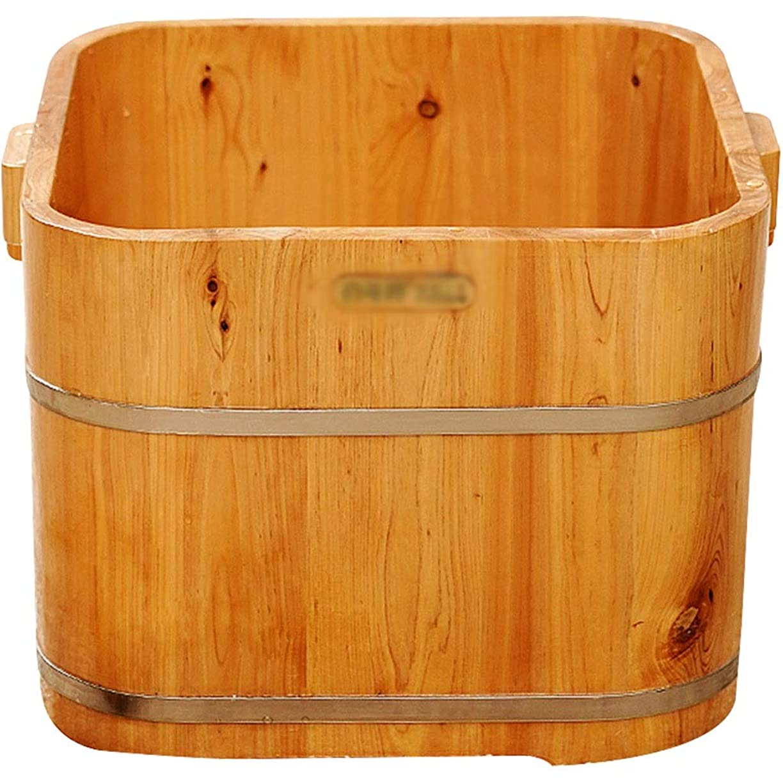 正当化する欺初心者足湯器 家庭用木製均熱足盆地、フットバスバレル、スクエアフット、疲労軽減、ソリッドウッドバレル、洗面 (Color : Brown, Size : 31cm)