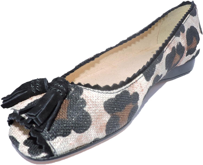Stuart Weitzman Women's Tazia Sand Leopard Denim Peep Toe Ballet Flats, Loafer, Size 7 M