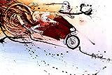 Beyond The Wall Ralph Steadman Hunter S. Thompson on Ducati Decorative Cartoon Art Poster Print 24 by 36