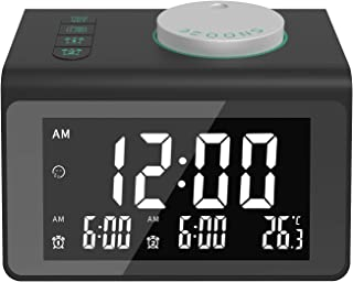 Alarm-Clock-for-Heavy-Sleepers|Alarm Clock Radio with 2 USB Ports and Dual Alarm,Digital Alarm Clock with 7 Alarm Sounds,Sleep Timer, Dimmer and Battery Operated