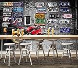 LYSBHX 3D Wallpaper Selbstklebend (B) 520X (H) 290Cm Europäische Und Amerikanische Retro-Ziegelmauer Motorradreifen 3D Fototapete Wandbild Wandkunst Dekoration Kinderzimmer 3D Wandbild Junge Mädchen Z
