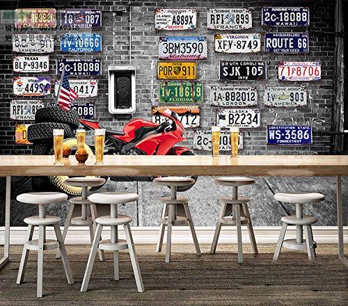 WWMJBH behang zelfklevende 3D Europa en Amerika Retro baksteen muur motorfiets merk band behang muurschildering 3D muurschildering foto kinderen Jongen meisje slaapkamer muur Art kamer woonkamer Tv Ba 400x280 cm (WxH) 8 stripes - self-adhesive