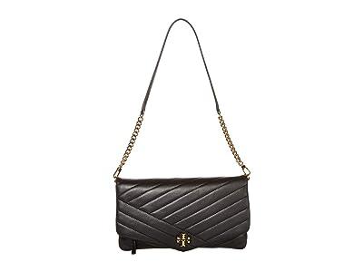 Tory Burch Kira Chevron Clutch (Black) Handbags