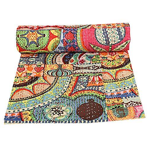 indischen Patch Work Baumwolle Kantha Quilt Queen Tagesdecken Überwurf Decke (Multi Floral) Bohemian Tagesdecke, Bohemian Betten, handgefertigt kantha Steppdecke