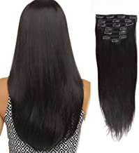 AmazingBeauty Double Weft Clip In Human Hair Extensions Thick 8A Grade 100% Virgin Hair 10-22inch 7 Pieces with 18 Clips 120g/4.2oz per Set For Full Head Silky Straight 16 inch