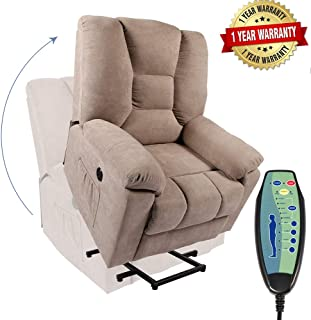 PieDle Electric Power Lift Recliner Chair, Linen Recliners for Elderly, Home Sofa Chairs with Heat & Massage, Remote Control, 3 Positions, 2 Side Pockets and USB Ports, Light Camel